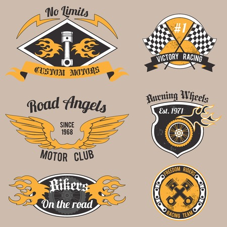 racing wings: Motorcycle grunge no limits custom motors design badges set isolated vector illustration.
