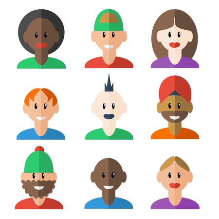 headwear: Trendy face and headwear social media forums participants profile avatar man woman design set isolated vector illustration Illustration