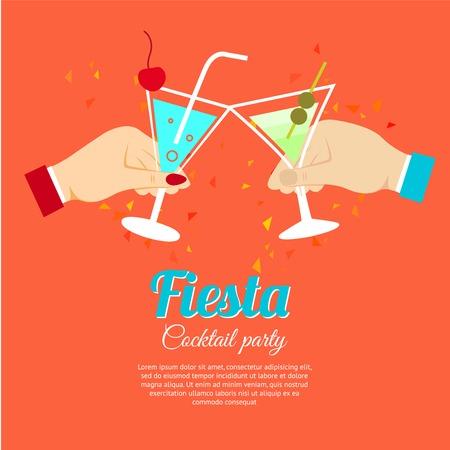 Cocktail party fiesta two hands holding martini glasses poster vector illustration Illustration