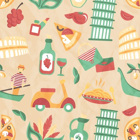 Italy seamless pattern with wine glass gondola olive oil vector illustration Vector