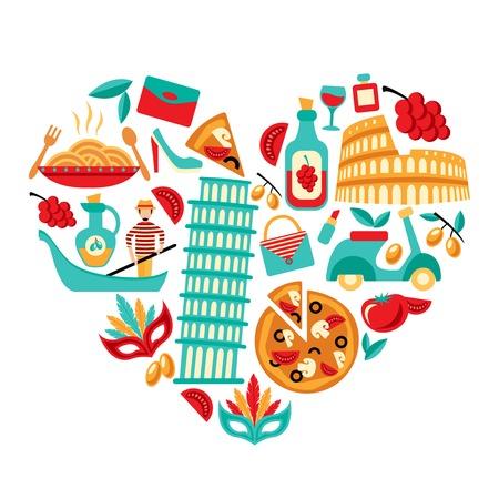 florence italy: Italia elementi decorativi set di icone in forma di cuore illustrazione vettoriale
