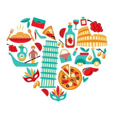 roma: Italy decorative elements icons set in heart shape vector illustration