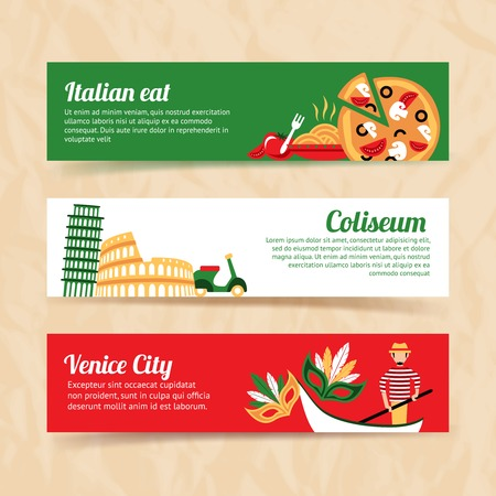 Italy banner set italian eat coliseum venice city isolated vector illustration Vector