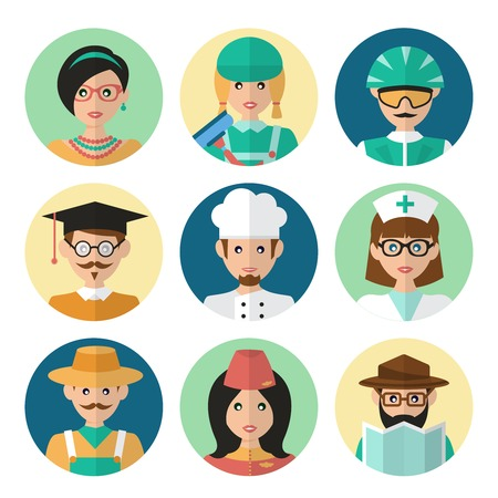 Faces avatar icons profession occupation job set flat isolated vector illustration