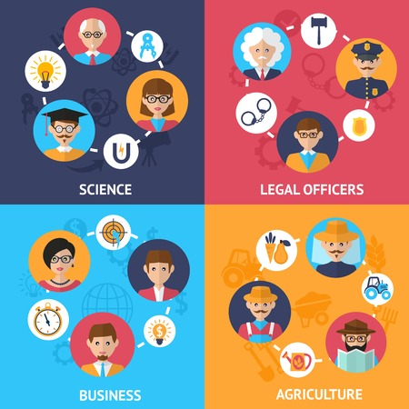 Teamwork people group decorative icons science legal officers business agriculture set flat isolated vector illustration Vector