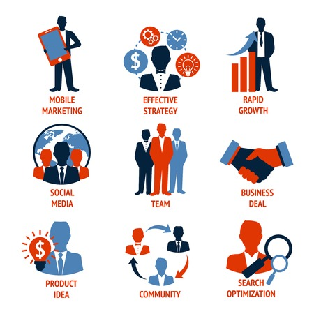 Business people meeting managements icons set of mobile marketing effective strategy rapid growth isolated vector illustration Illustration