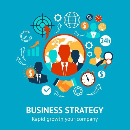 dirección empresarial: Estrategia moderna de negocios y gestión de un rápido crecimiento de su concepto de empresa ilustración vectorial Vectores