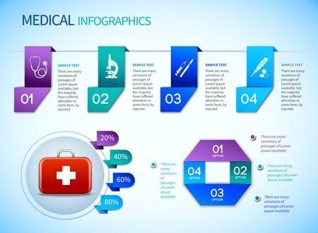 Origami infographics medical elements template with ribbon options origami infographics medical elements template with ribbon options and first aid kit vector illustration stock vector maxwellsz