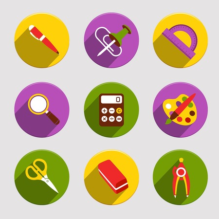 Flat school education icons set of pen color palette eraser isolated vector illustration 向量圖像