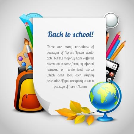 Terug naar school achtergrond met onderwijs elementen en vel papier vector illustratie Stock Illustratie