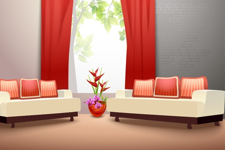 window curtains: Interior indoor living room design with couch vase and window curtains vector illustration