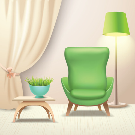 coffee table: Interior indoor living room design with armchair and coffee table vector illustration Illustration