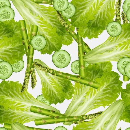 cucumber salad: Mezcla de alimentos org�nicos de fondo transparente de verduras con ilustraci�n de ensalada verde pepino esp�rragos vector