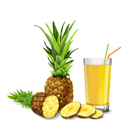 Realistic glass full of juice with cocktail straw and pineapple fruit isolated on white background vector illustration Vector