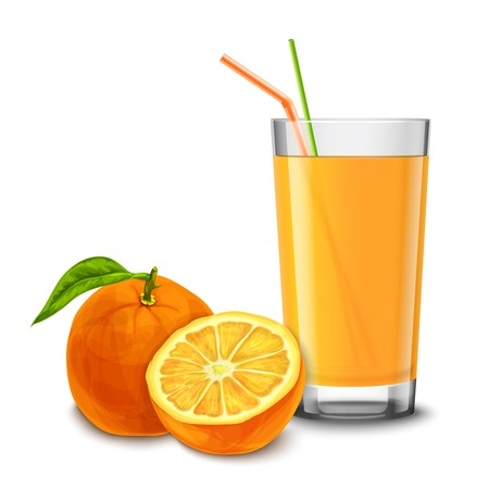 glass half full: Realistic glass full of juice with cocktail straw and orange fruit isolated on white background vector illustration