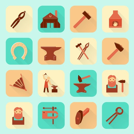 fireplace bellows: Decorative blacksmith shop anvil fire place molding tools and horseshoe pictograms icons collection flat  isolated vector illustration