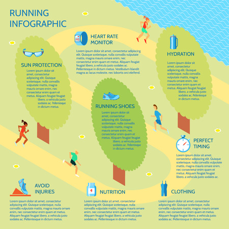 timing: Running jogging in park sport infographic with nutrition protection clothing elements vector illustration