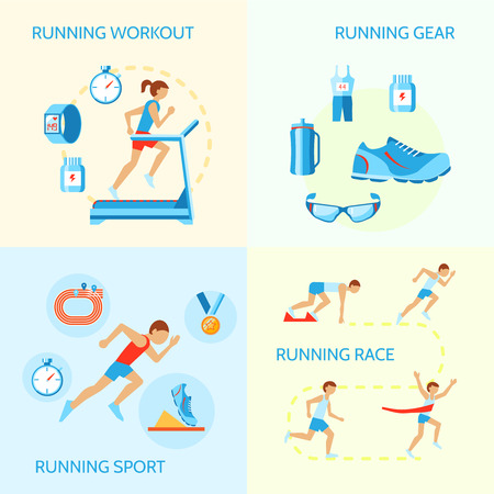 runner: Running jogging composition of workout gear sport race icons isolated vector illustration