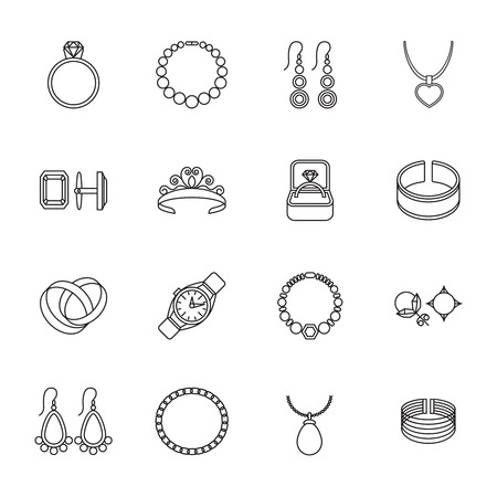 cuff links: Jewelry outline icons set of bracelet ring necklace isolated vector illustration Illustration