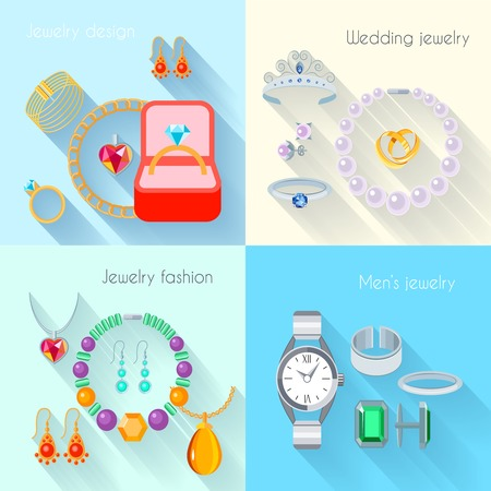 cuff links: Jewelry flat decorative icons set of wedding fashion jewellery designs isolated vector illustration