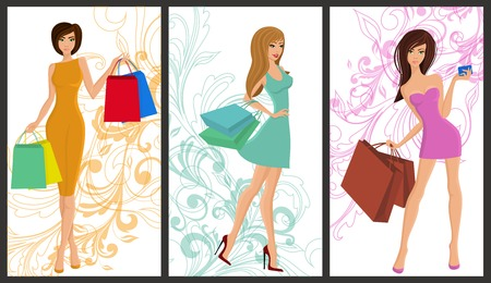 sexy business woman: Shopping girl young sexy females with fashion bags vertical banners set isolated vector illustration Illustration