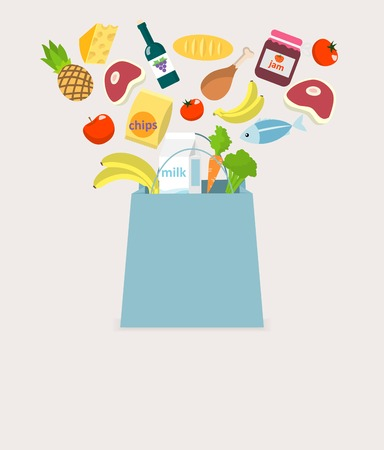 pastry bag: Food elements grocery items vegetables fruits fish and meat in shopping bag vector illustration