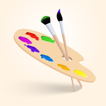 proficiency: Art color palette with paintbrush drawing tools  isolated on white background vector illustration Illustration