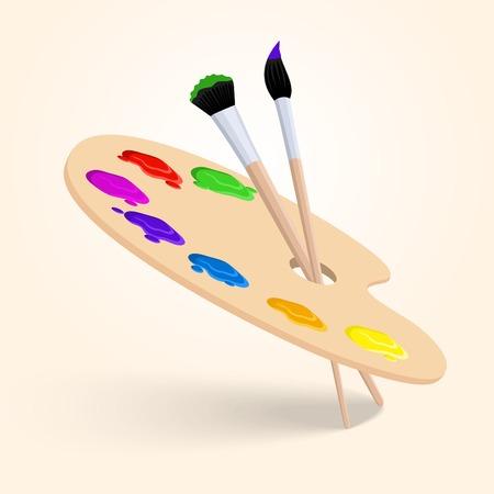 paleta: Arte paleta de colores con las herramientas de dibujo pincel aisladas sobre fondo blanco ilustraci�n vectorial