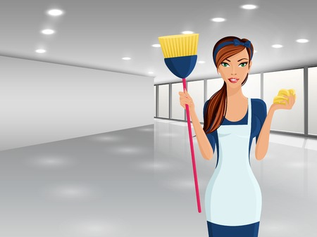 Young woman girl cleaning with brush and sponge portrait on business office background vector illustration Иллюстрация
