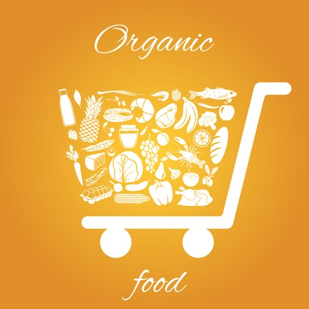 Shopping cart made of fruits vegetables meat and grocery healthy organic food concept vector illustration
