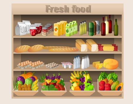 Supermarket shelves with food drinks fruits vegetables bread milk and grocery vector illustration Illustration
