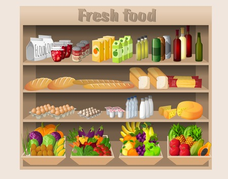 grocery shelves: Supermarket shelves with food drinks fruits vegetables bread milk and grocery vector illustration Illustration