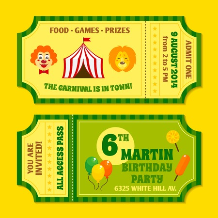 circus caravan: Two vintage circus carnival birthday party invitation tickets templates with clown and balloon isolated vector illustration