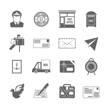 mail box: Post service icon black set with logistics shipping and packaging elements isolated vector illustration Illustration
