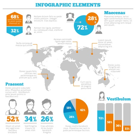 data distribution: Avatar worldwide mobile computer network business users distribution infographic charts layout design vector illustration Illustration
