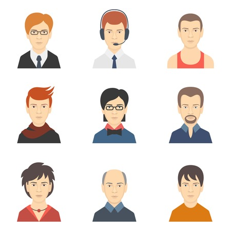 Social networks business private man users profile avatar dress code haircut icons set isolated flat vector illustration Ilustracja