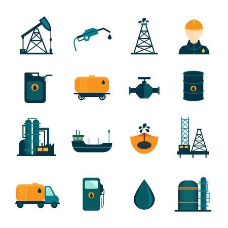 pozo petrolero: Iconos de transporte de petróleo La industria petrolera del proceso de refinación de perforación establecen con el petrolero y la bomba aislada plana ilustración vectorial Vectores