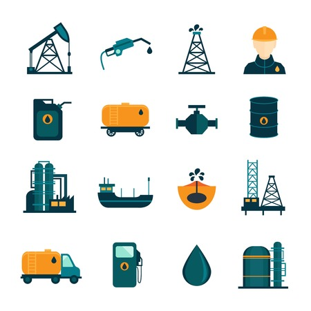 drilling well: Oil industry drilling refining process petroleum transportation icons set with oilman and pump flat isolated vector illustration