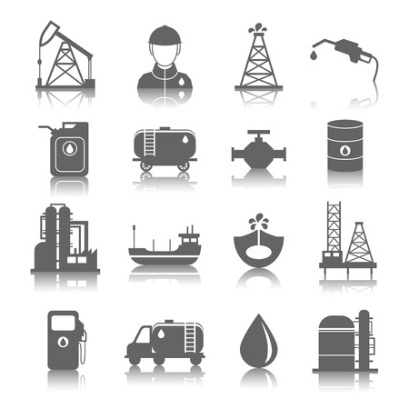 drilling well: Oil industry gasoline processing symbols icons set with tanker truck petroleum can and pump isolated vector illustration
