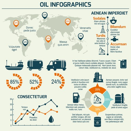 petrochemicals: World oil production distribution and petroleum extraction rate business infochart diagram layout report presentation design vector illustration Illustration