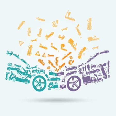 Auto-ongeluk auto botsing auto-ongeluk iconen begrip vector illustratie
