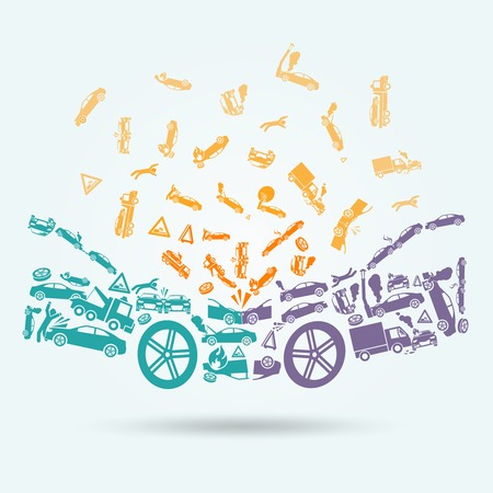Car crash auto collision vehicle accident icons concept vector illustration