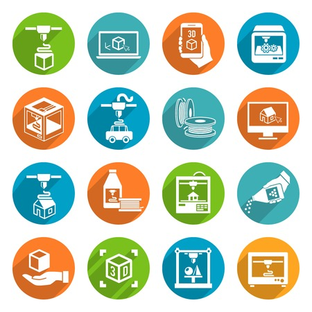 Printer 3d round button icons set of modern architecture futuristic print machine isolated vector illustration