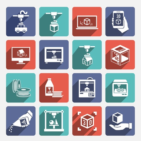 printers: Printer 3d graphic manufacturing machine long shadow icons set isolated vector illustration