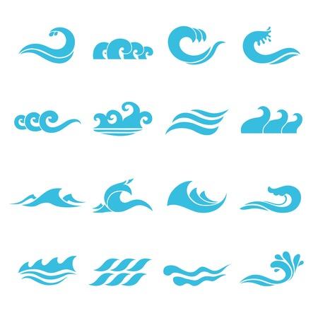 Las olas que fluyen iconos del mar del océano de agua establecidos, ilustración vectorial