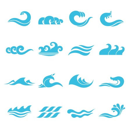 flowing river: Waves flowing water sea ocean icons set isolated vector illustration