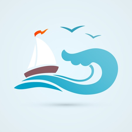 tides: Ocean sea water wave with sailing ship and seagull vector illustration