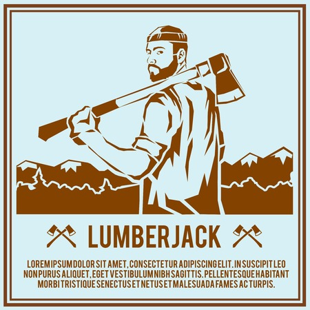 timber cutting: Lumberjack woodcutter logging industry man with axe retro poster vector illustration