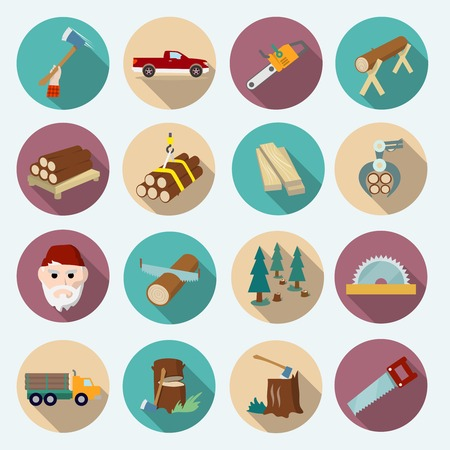 tree stump: Lumberjack woodcutter flat icons set of axe working tools isolated vector illustration