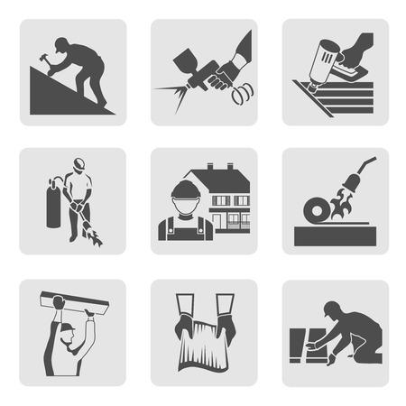 constructor: Construcci�n trabajador techador iconos casa comerciante constructor conjunto aislado ilustraci�n vectorial